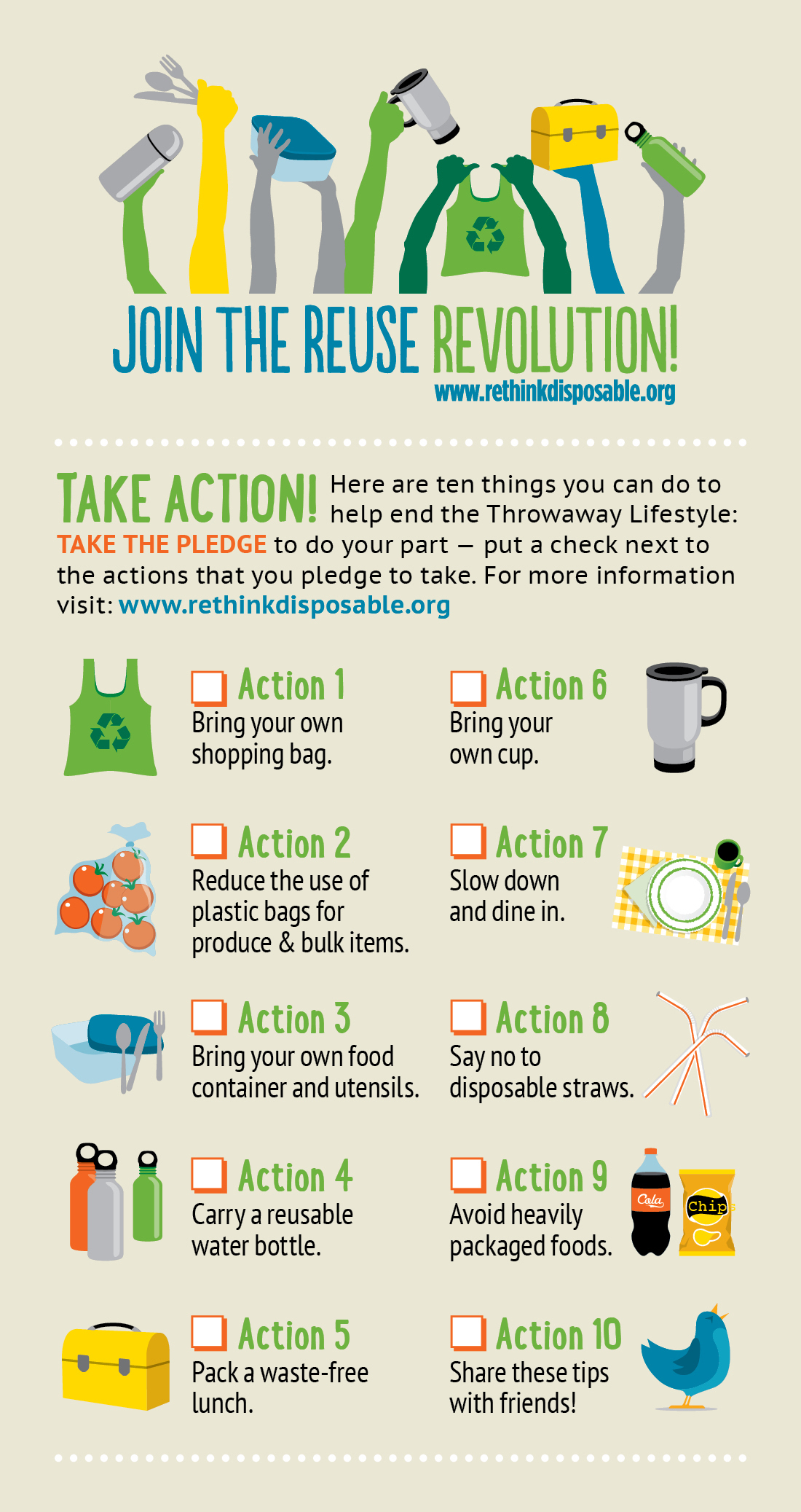 Join the Reuse Revolution - Ten Things You Can Do Graphic. Credit: ESDesign / Clean Water Action